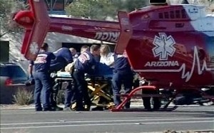 News photo of the scene of the shooting of Congressman Gabby Giffords in Tuscon.